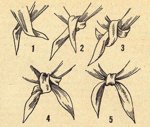 Скрещиваем края таким образом, чтобы правый находился сверху.  Как завязывать Пионерский галстук?